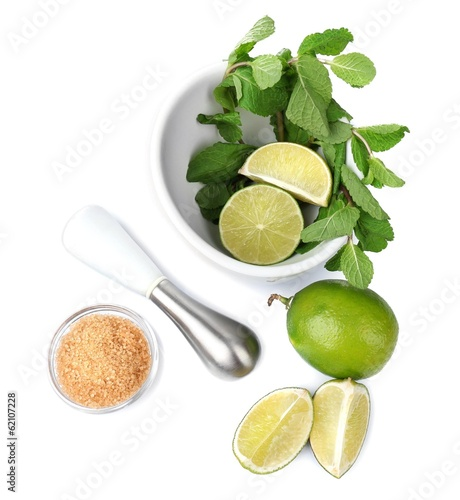 Ingredients for lemonade, isolated on white