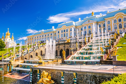 canvas print picture Grand Cascade in Peterhof, St Petersburg