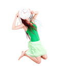 jumping girl with clock, white background
