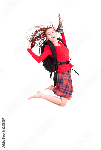 student girl, jumping, white background