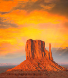 Sunset colors over Monument Valley buttes
