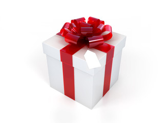 Present box with an elegant bow and tag