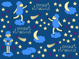 Sweet Dreams Bedtime vector seamless pattern