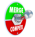 Merge Vs Compete Toggle Switch Combine Companies Bigger Business