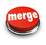 Merge Word Press Button Combine Companies Businesses Merger poster