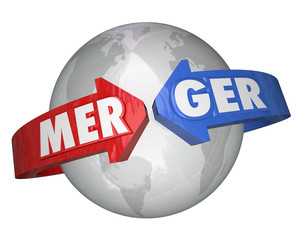 Merger Word Arrows Around World Combining Companies Business