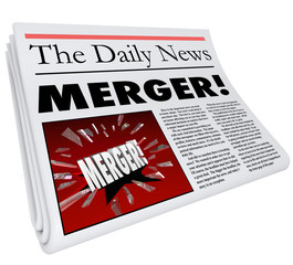Merger Newspaper Headline Big Breaking News Story Update Company