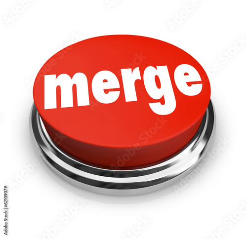 Merge Word Press Button Combine Companies Businesses Merger