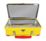 Opened Yellow metal suitcase