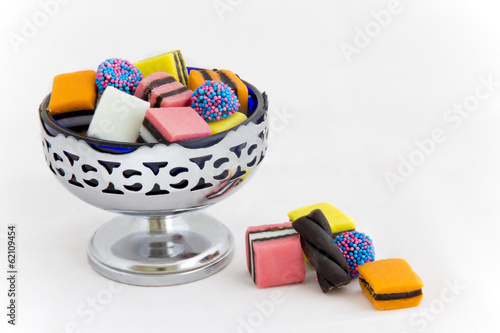 Licorice Allsorts in a Bowl