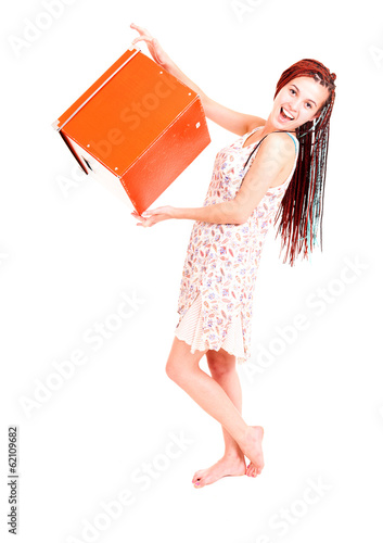 beautiful teen girl with box, white background