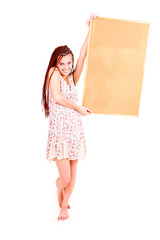 beautiful teen girl whit cokr board, white backgroundd