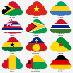 Set Flags of world sovereign states in form clouds. Vector il