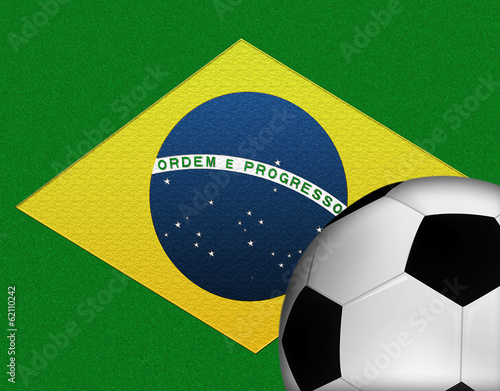 Brazilian Flag with a Soccer Ball in the Foreground