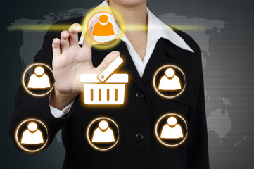 Businessman Select icon person on virtual screen. Concept of mar