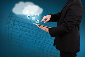 Businessman holding tablet show cloud computing concept on virtu