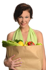 Young Woman Holding Bag of Groceries
