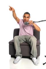 African American Man Using Microphone
