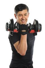 Senior Man Curling Dumbell