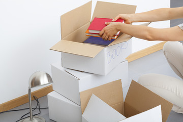 Cardboard boxes filling
