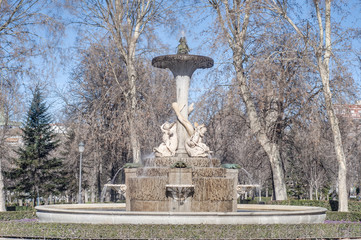 Galapagos Fountain in Madrid, Spain.