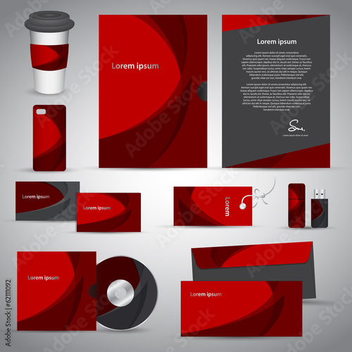 Stationery template red design