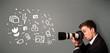 Photographer boy capturing white photography icons and symbols