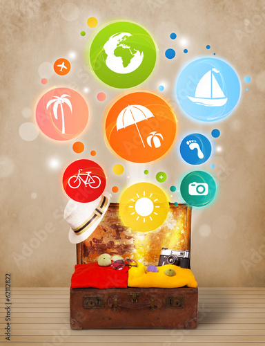 Suitcase with colorful summer icons and symbols