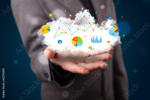 Young businessman presenting cloud with charts and graph icons a