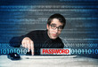 Young geek hacker stealing password