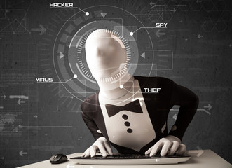 Hacker without identity in futuristic enviroment hacking persona