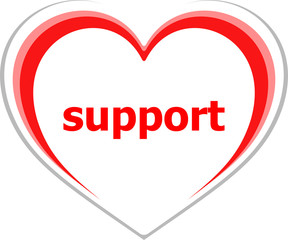 internet concept, support word on love heart