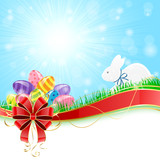 Easter eggs with rabbit and red bow