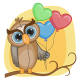 Owl with baloons