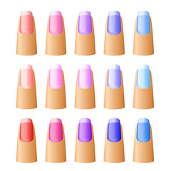 Nail polish in different hues.