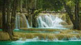 Large terraced waterfall - Khouang Si Waterfall close up, Laos
