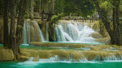 Large terraced waterfall - Khouang Si Waterfall close up, Laos