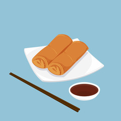 A illustration of Chinese dim sum, Spring rolls