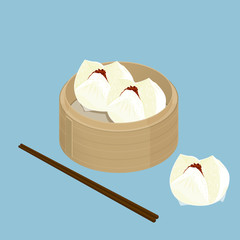 A illustration of Chinese dim sum, Barbecued pork bun