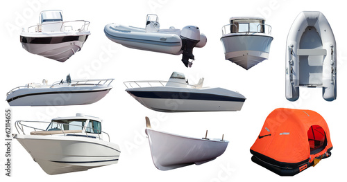 canvas print picture Set of  boats. Isolated over white