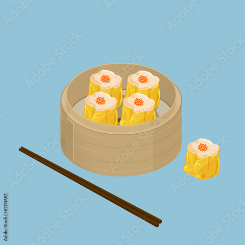 A illustration of Chinese dim sum, Shu Mai