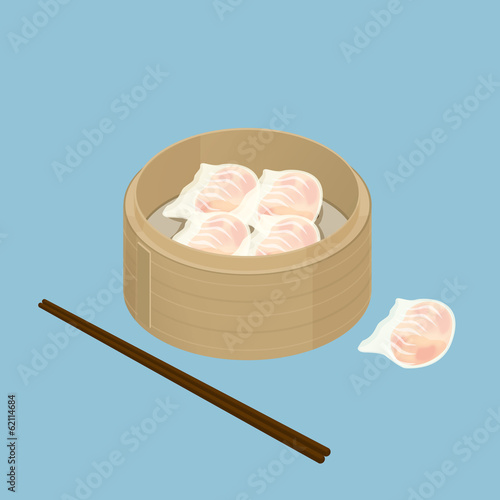 A illustration of Chinese dim sum, Har Gau, Shrimp Dumpling