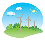 wind power turbines and nature - vector illustration