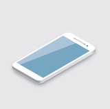 Mobile phone isolated. Realistic white 3d smartphone vector.