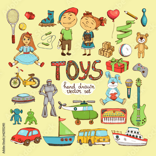 set of cartoon toys