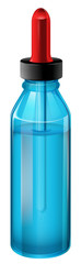 A blue medical bottle with a dropper