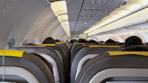 Airplane interior, back view