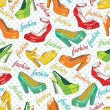 Colorful fashion women's shoes,polka dot.Seamless pattern