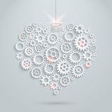 Vector gears and cogs heart. Technology love concept.