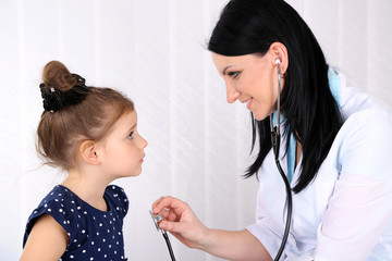 Little girl at doctor